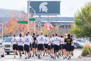 ROTC students running on MSU's campus